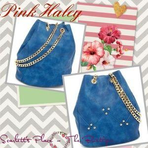 Pink Haley Blue PU Leather Bucket Crossbody Bag